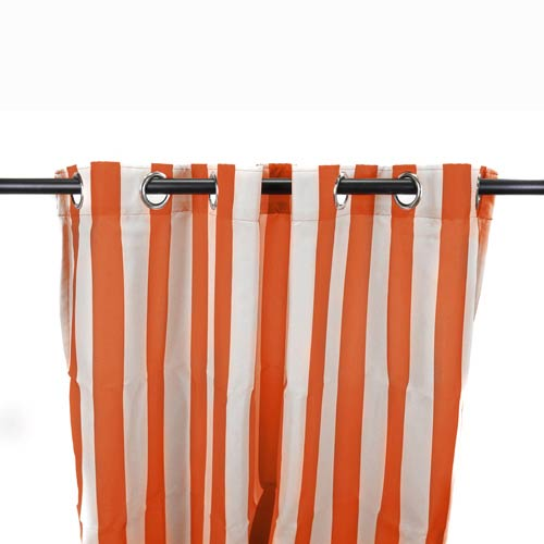 Tangerine Stripe Outdoor Curtain Panel
