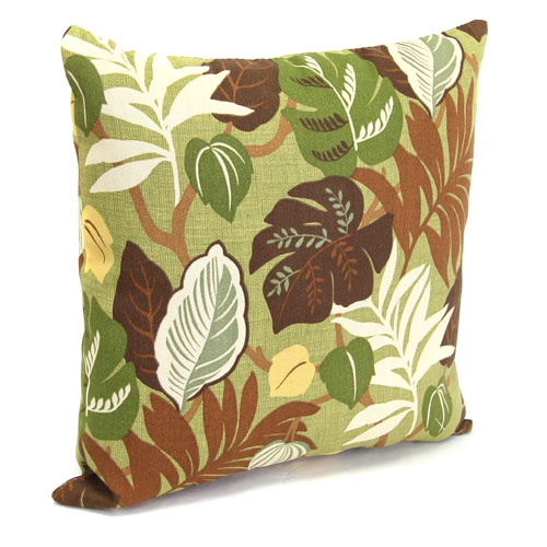 Jordan Manufacturing Company Outdoor Toss Pillows Basil Leaf Pattern 16-Inch Square Toss pillow