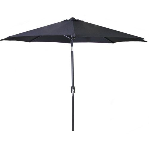Steel Market Umbrellas Black 9-Foot Round Steel Umbrella