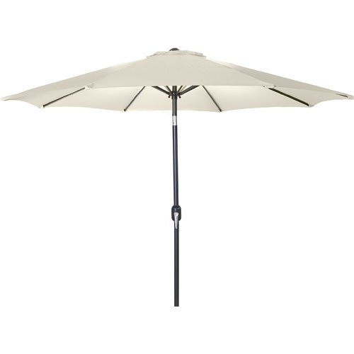 Steel Market Umbrellas Natural 9-Foot Round Steel Umbrella