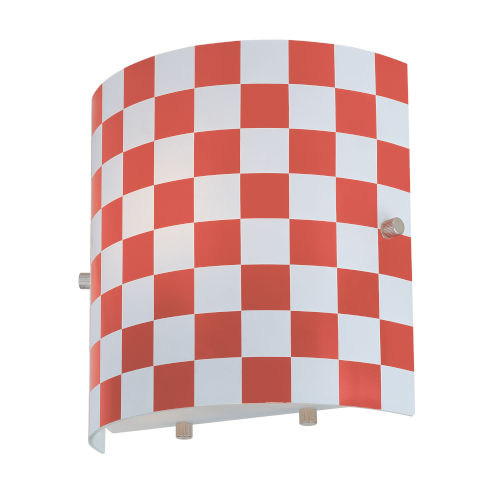 Checker Red One-Light Sconce