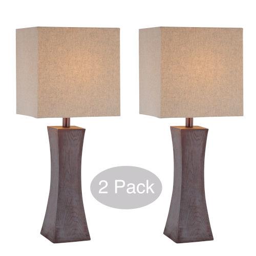 Enkel Dark Walnut Two-Light Table Lamp, Set of Two