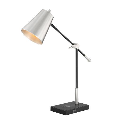 Salma Brushed Nickel One-Light Desk Lamp