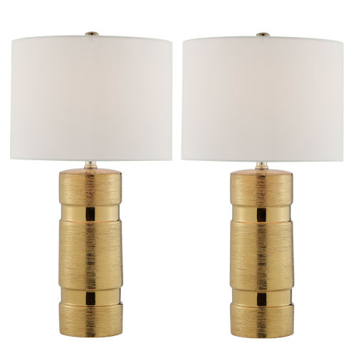 Lucano Gold Two-Light Table Lamp, Set of Two