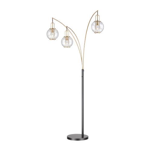 Kaira Black Three-Light Arc Floor Lamp