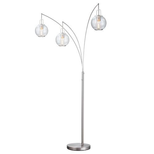 Kaira Brushed Nickel Three-Light Arc Floor Lamp