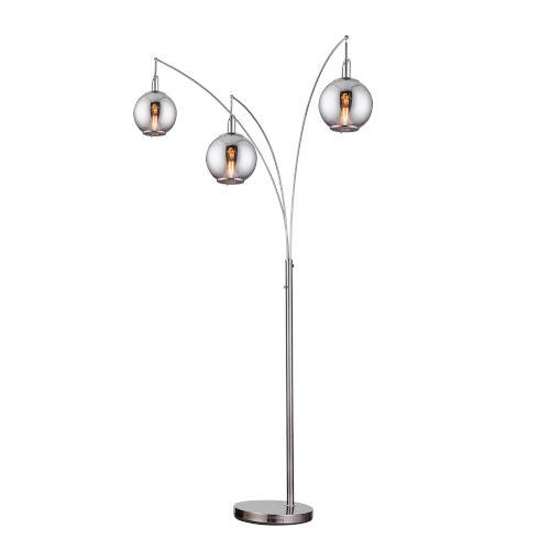 Kaira Gun Metal Three-Light Arc Floor Lamp