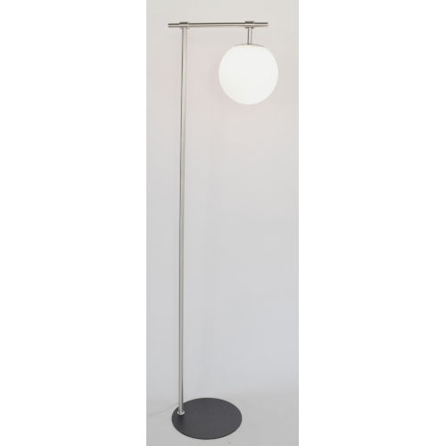 Lencho Brushed Nickel Frost Glass One-Light Floor Lamp