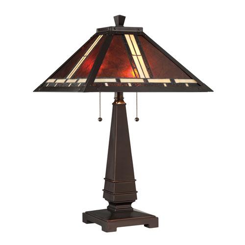 Crimson Dark Bronze Two-Light Table Lamp
