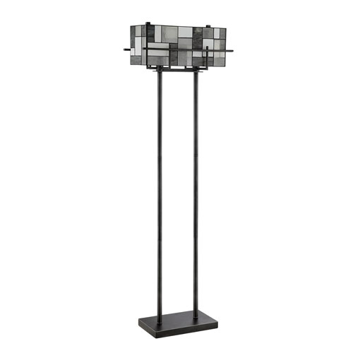 Collins Aged Gun Metal Two-Light Floor Lamp