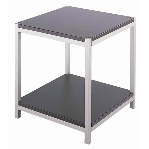 Vista Stainless Steel and Dark Walnut End Table