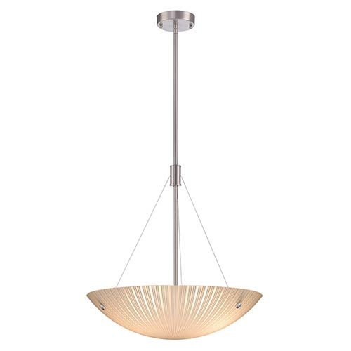 Rocco Polished Steel Three-Light Bowl Pendant