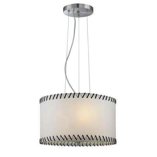 Lite Source Lavina Polished Steel Drum Pendant with Paper Shade