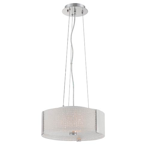 Lite Source Maso Chrome Three-Light Pendant with Frosted Glass Shade