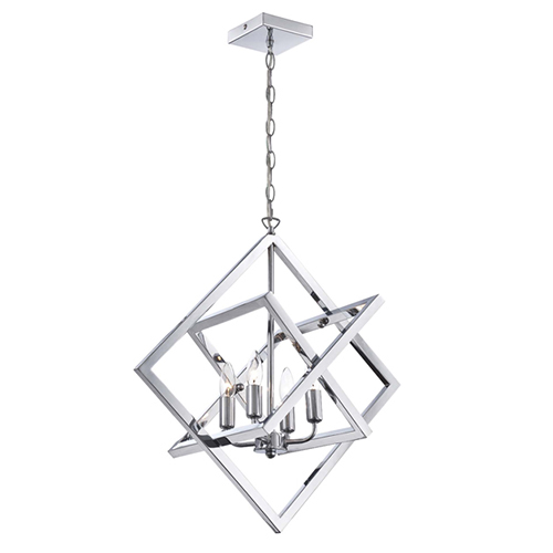 Lite Source Isidro Chrome Four Light Chandelier In Geometric Design