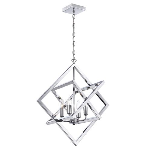 Isidro Chrome Four Light Chandelier in Geometric Design