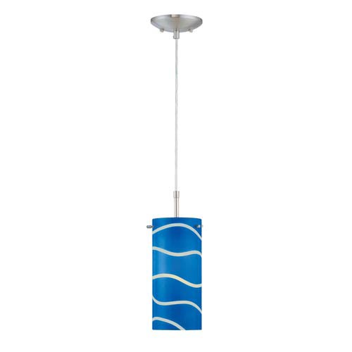 Pacifica Polished Steel Pendant Lamp with Blue Glass Shade