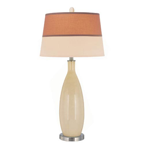Lite Source Gillespie Ivory and Polished Steel One-Light Table Lamp