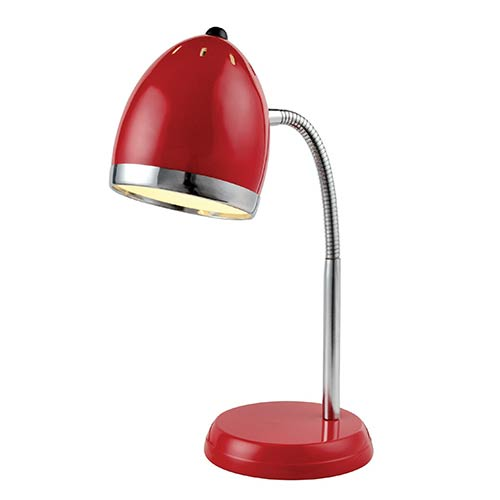 Zachary Red and Chrome One-Light Fluorescent Desk Lamp
