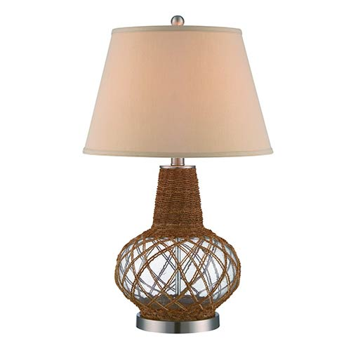 Lite Source Kesler Polished Steel and Natural One-Light Fluorescent Table Lamp
