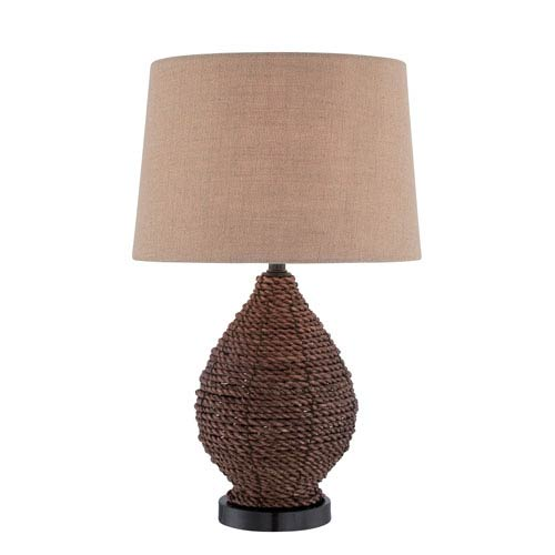 Lite Source Pouria Dark Brown Rattan One-Light Table Lamp