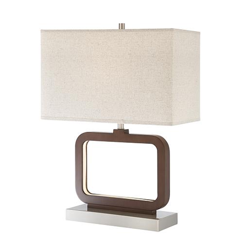 Leonard Walnut Two-Light LED Table Lamp