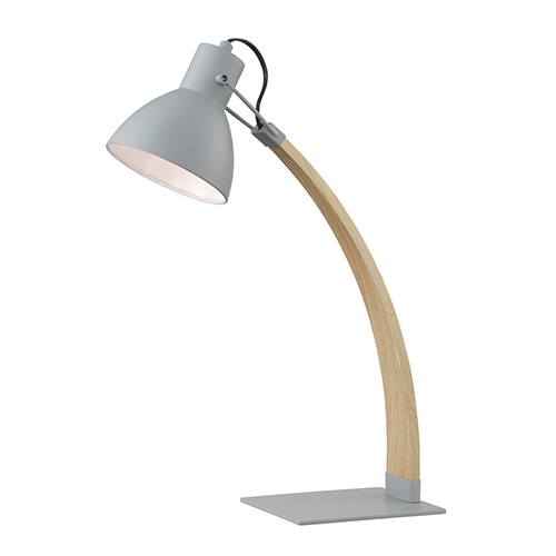 Lite Source Arden Grey and Wood 22-Inch One-Light Desk Lamp