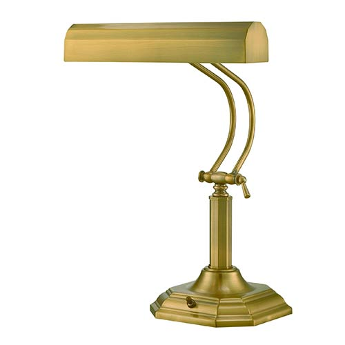 Piano Mate Antique Brass Two-Light Fluorescent Desk Lamp