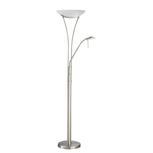 Avington Polished Steel Torchiere and Reading Lamp