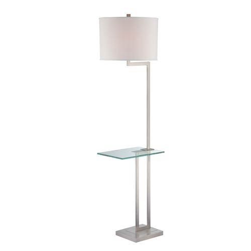 Lite Source Rudko Polished Steel Floor Lamp with Glass Table