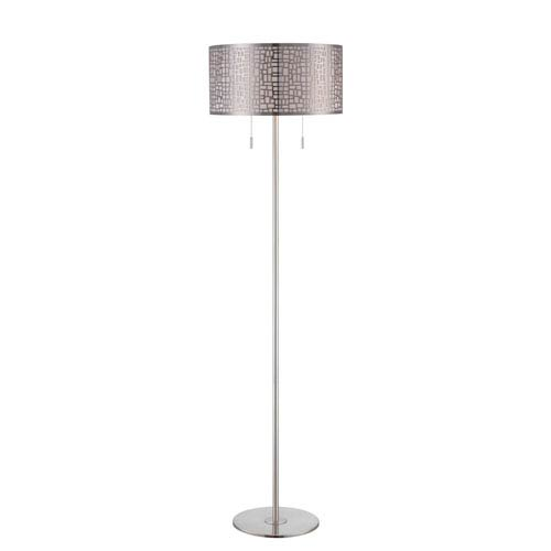 Lite Source Torre Polished Steel Two-Light Floor Lamp