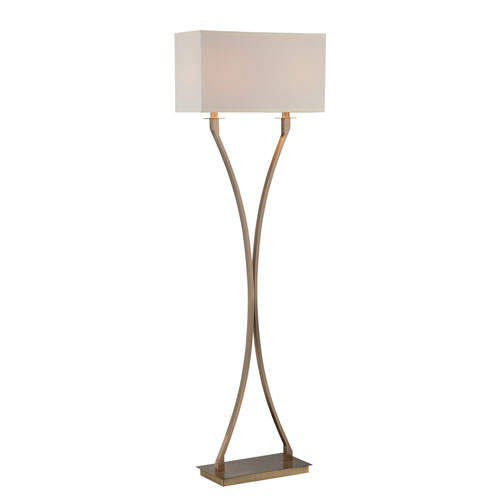 Cruzito Antique Brass 59-Inch Two-Light Floor Lamp