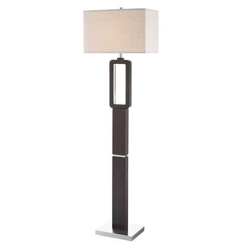 Leonard Walnut Two-Light LED Floor Lamp