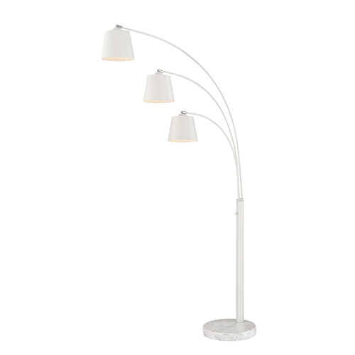 Quana White Three-Light Floor Lamp