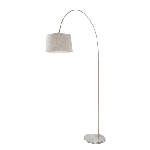 Lite Source Hooper Brushed Nickel One-Light Floor Lamp with Flannel Shade