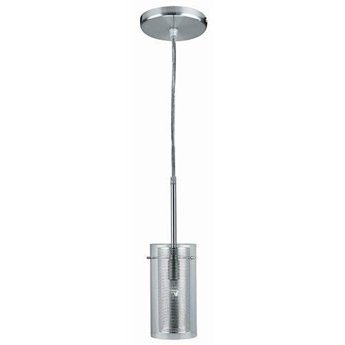 Lite Source Wick Polished Steel One-Light Mini-Pendant