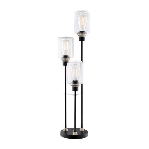 Lite Source Luken Black And Brushed Nickel Three Light Table Lamp Ls