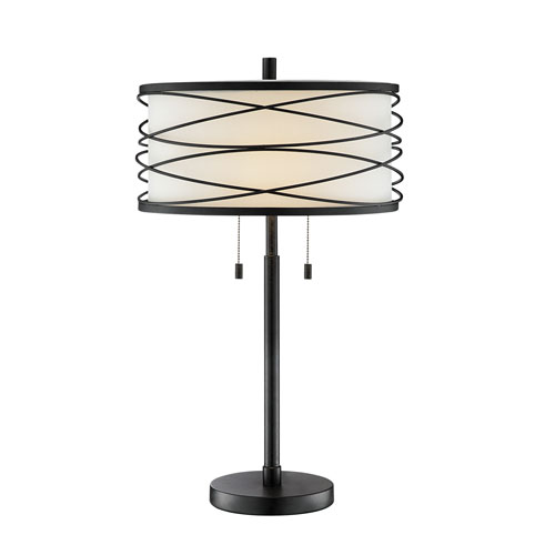 Lite Source Lumiere Black Two-Light Table Lamp