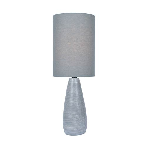 Lite Source Quatro Brushed Grey One-Light Fluorescent 13W Mini Table Lamp with Grey Linen Shade