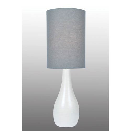 Lite Source Quatro Brushed White One-Light Fluorescent Table Lamp with Grey Linen Shade