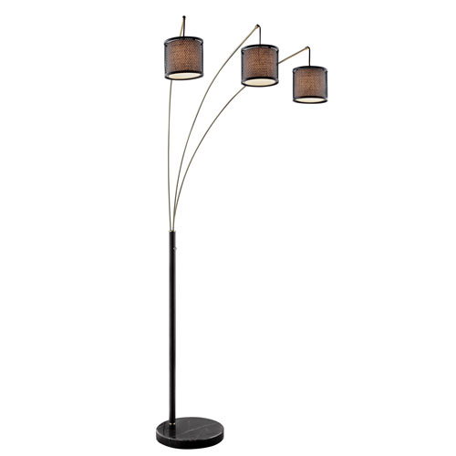 Elena Coffee Three-Light Arch Floor Lamp