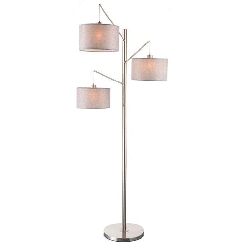 Sloane Brushed Nickel Three-Light Swing Floor Lamp