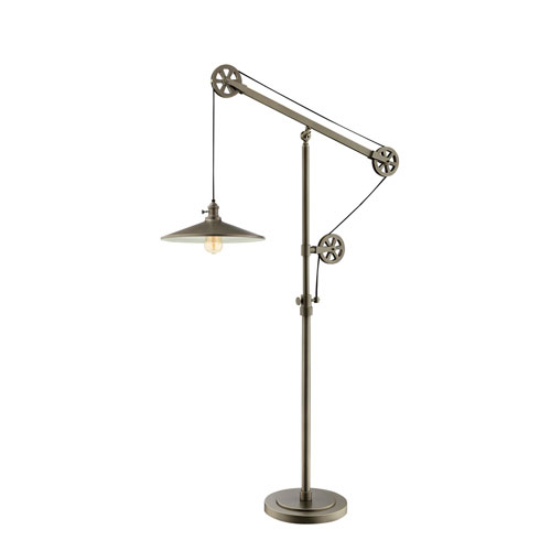 Lite Source Garrad Antique Silver One-Light Pulley Floor Lamp