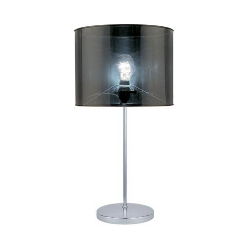 Lanza Polished Steel Table Lamp with Silver Shade