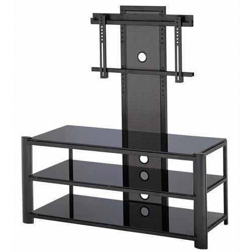 Burly Black Three-Tier TV Stand