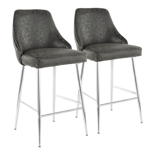 Marcel Chrome and Black Leather 37-Inch Bar Stool, Set of 2
