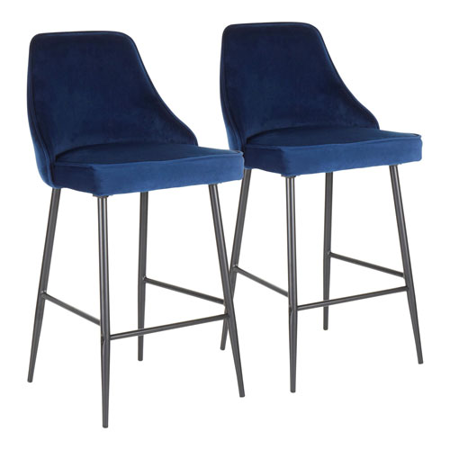 Marcel Black and Navy Blue 36-Inch Bar Stool, Set of 2