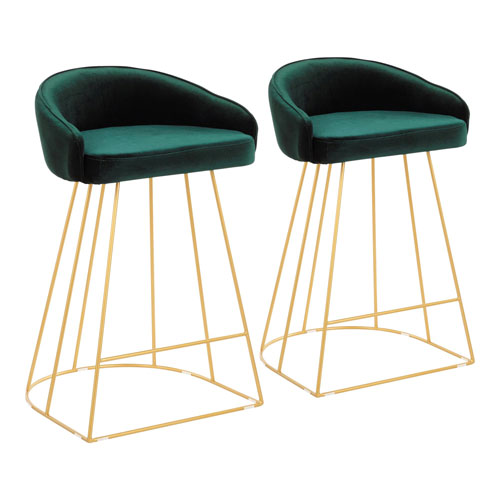 Canary Gold and Green 31-Inch Bar Stool with Backrest, Set of 2