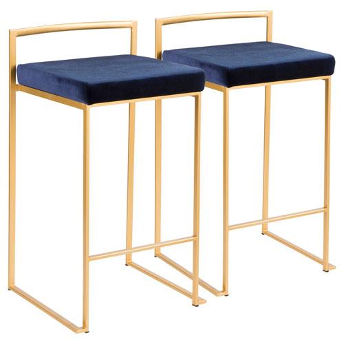 Fuji Gold and Blue 31-Inch Bar Stool, Set of 2