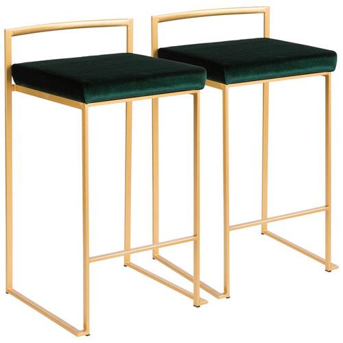 Fuji Gold and Green 31-Inch Bar Stool, Set of 2